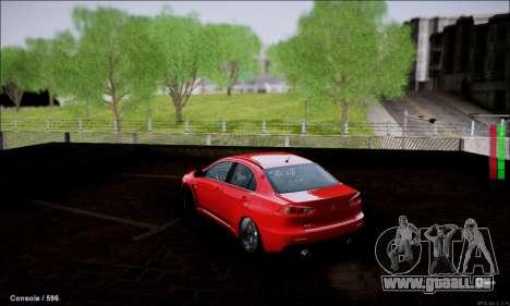 Mitsubishi Lancer Evolution X Stance Work für GTA San Andreas zurück linke Ansicht