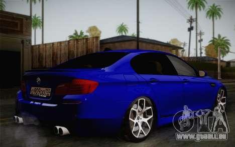 BMW M5 F10 v2 pour GTA San Andreas sur la vue arrière gauche