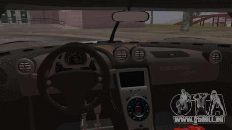 Koenigsegg Agera pour GTA San Andreas vue de dessus
