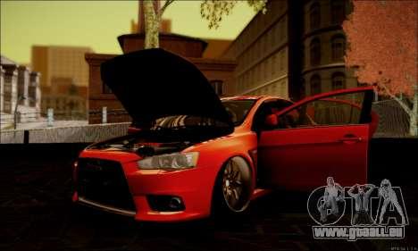 Mitsubishi Lancer Evolution X Stance Work für GTA San Andreas Seitenansicht