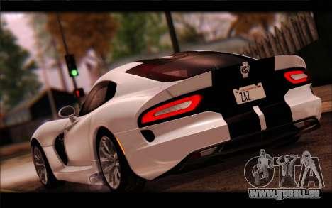 SRT Viper Autovista für GTA San Andreas obere Ansicht