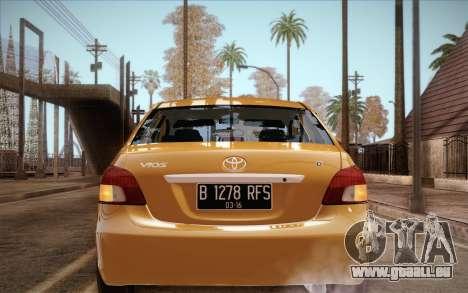 Toyota Vios 2008 pour GTA San Andreas sur la vue arrière gauche