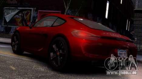 Porsche Cayman 981 S v2.0 pour GTA 4 est une gauche