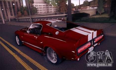 Shelby GT500 E v2.0 für GTA San Andreas zurück linke Ansicht