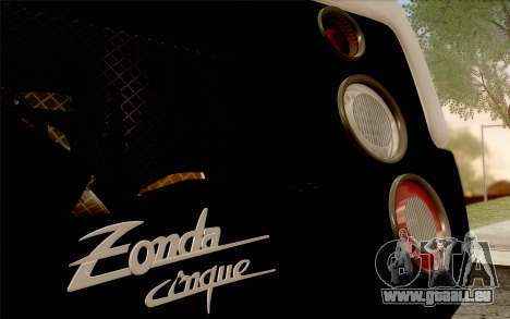 Pagani Zonda Cinque für GTA San Andreas Unteransicht