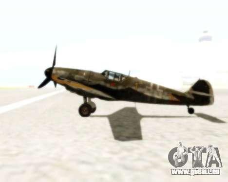 Bf-109 G6 für GTA San Andreas Rückansicht