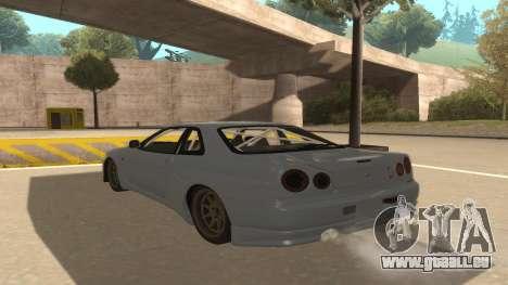 Nissan Skyline R34 für GTA San Andreas Rückansicht