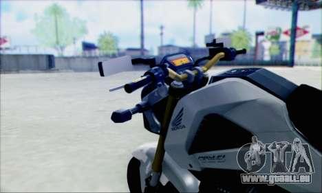 Honda MSX 125 pour GTA San Andreas sur la vue arrière gauche