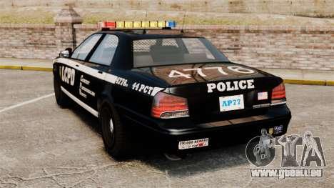 GTA V Vapid Police Cruiser [ELS] pour GTA 4 Vue arrière de la gauche