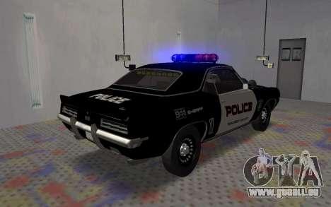 Chevrolet Camaro SS Police für GTA San Andreas zurück linke Ansicht