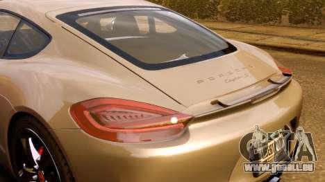 Porsche Cayman 981 S v2.0 pour GTA 4 est un côté