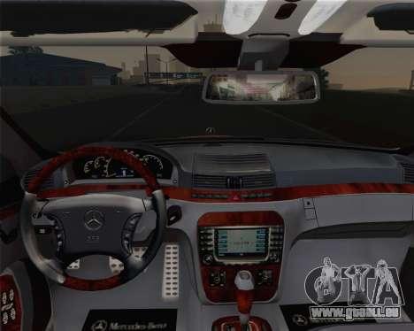 Mercedes-Benz S600 Biturbo 2003 pour GTA San Andreas vue de dessus