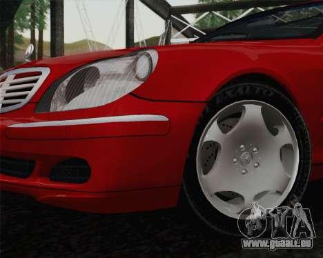 Mercedes-Benz S600 Biturbo 2003 pour GTA San Andreas sur la vue arrière gauche