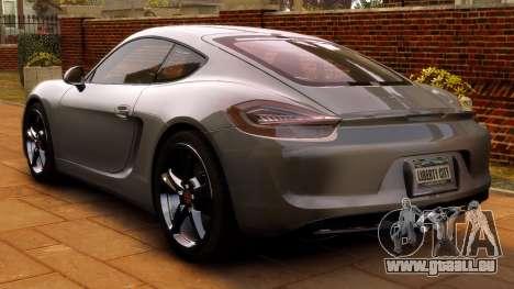 Porsche Cayman 981 S v2.0 für GTA 4 Rückansicht