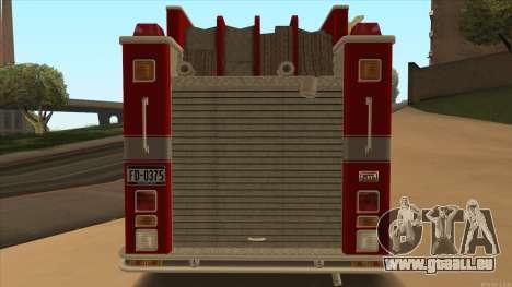 Firetruck HD from GTA 3 für GTA San Andreas rechten Ansicht