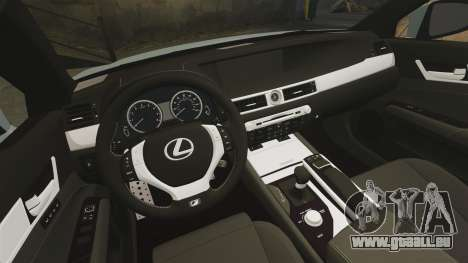 Lexus GS 350 2013 pour GTA 4 est une vue de l'intérieur