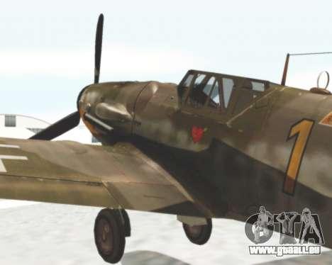 Bf-109 G6 pour GTA San Andreas sur la vue arrière gauche