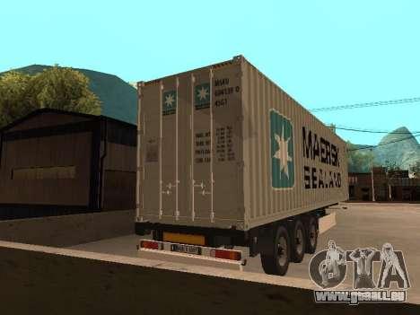Remorque MAERSK pour GTA San Andreas laissé vue