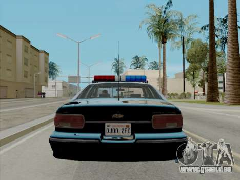 Chevrolet Caprice LAPD 1991 [V2] pour GTA San Andreas sur la vue arrière gauche