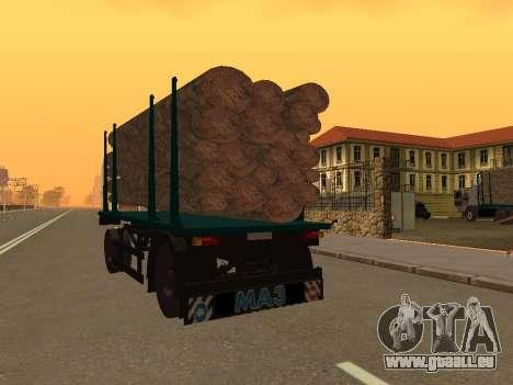 Trailer für MAZ 6430 für GTA San Andreas zurück linke Ansicht
