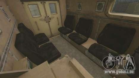 Cougar MRAP 4X4 pour GTA 4 est une vue de l'intérieur