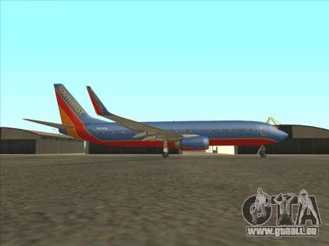 Boeing 737 Southwest Airlines für GTA San Andreas linke Ansicht