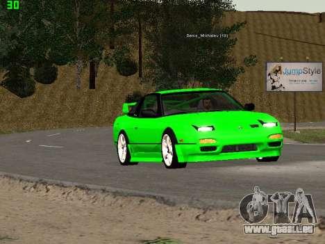 Nissan 240SX Drift Version pour GTA San Andreas vue intérieure