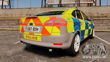 Ford Mondeo Metropolitan Police [ELS] pour GTA 4 Vue arrière de la gauche
