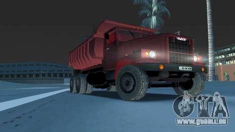Camion à benne basculante KrAZ 255 pour GTA Vice City vue arrière