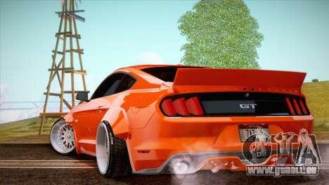 Ford Mustang Rocket Bunny 2015 pour GTA San Andreas sur la vue arrière gauche