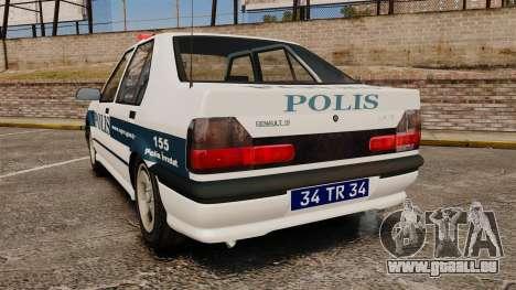 Renault 19 Turkish Police pour GTA 4 Vue arrière de la gauche