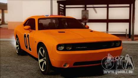 Dodge Challenger SRT8 2012 HEMI pour GTA San Andreas vue de dessous