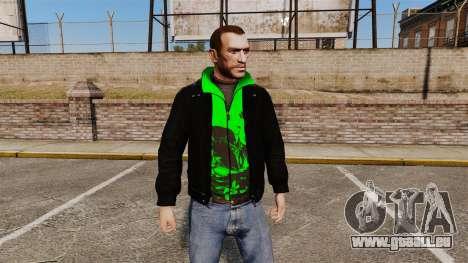 Veste noire avec un vert olympique pour GTA 4