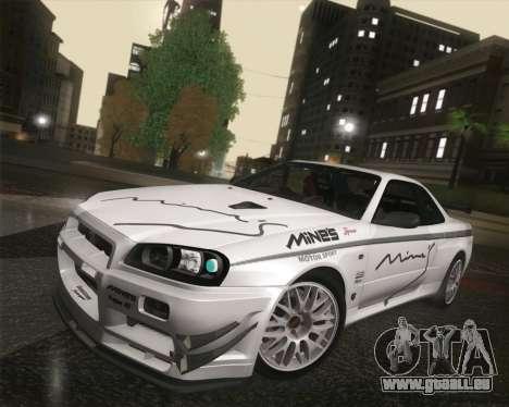 Nissan Skyline Mines R34 2002 für GTA San Andreas Innenansicht