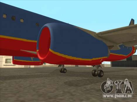 Boeing 737 Southwest Airlines für GTA San Andreas Unteransicht