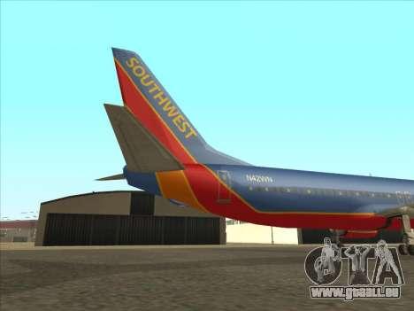 Boeing 737 Southwest Airlines für GTA San Andreas Rückansicht