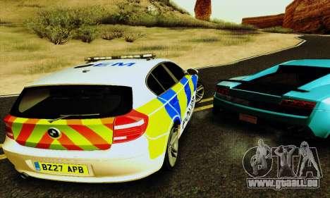 BMW 120i SE Police pour GTA San Andreas vue intérieure