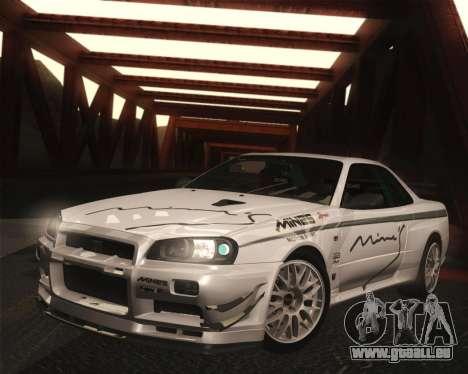 Nissan Skyline Mines R34 2002 für GTA San Andreas zurück linke Ansicht