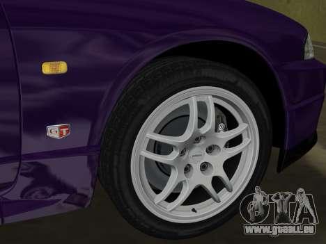 Nissan SKyline GT-R BNR33 pour une vue GTA Vice City de l'intérieur