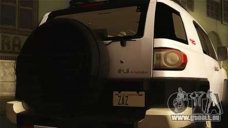 Toyota FJ Cruiser 2012 pour GTA San Andreas sur la vue arrière gauche