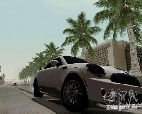 MINI Cooper S 2012 pour GTA San Andreas sur la vue arrière gauche