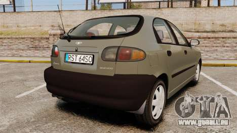 Daewoo Lanos S PL 2001 pour GTA 4 Vue arrière de la gauche