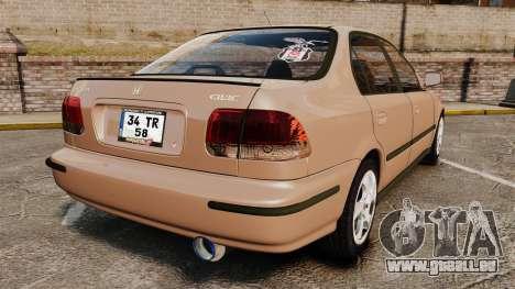 Honda Civic pour GTA 4 Vue arrière de la gauche