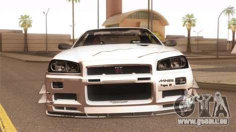 Nissan Skyline Mines R34 2002 für GTA San Andreas Seitenansicht