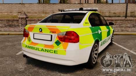 BMW 330i Ambulance [ELS] pour GTA 4 Vue arrière de la gauche