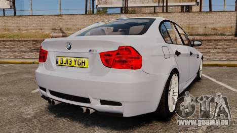 BMW M3 Unmarked Police [ELS] pour GTA 4 Vue arrière de la gauche