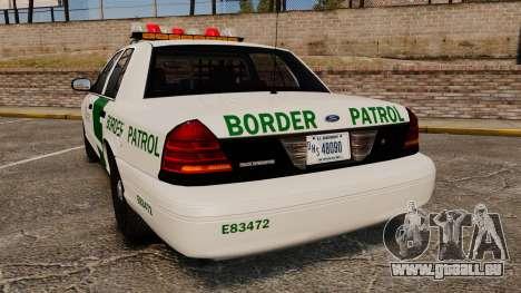 Ford Crown Victoria 1999 U.S. Border Patrol für GTA 4 hinten links Ansicht