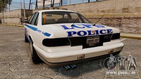 Vapid Police Cruiser v2.0 pour GTA 4 Vue arrière de la gauche