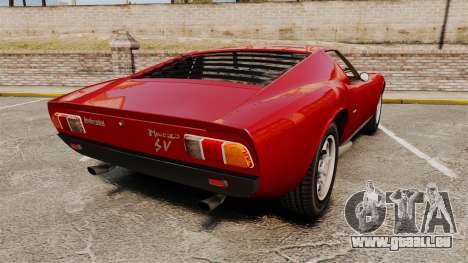 Lamborghini Miura P400 SV 1971 pour GTA 4 Vue arrière de la gauche