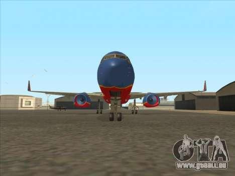 Boeing 737 Southwest Airlines für GTA San Andreas Innenansicht